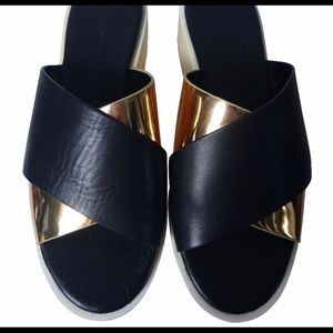 ZARA Black & Gold Leather Platform Clogs. Size 7